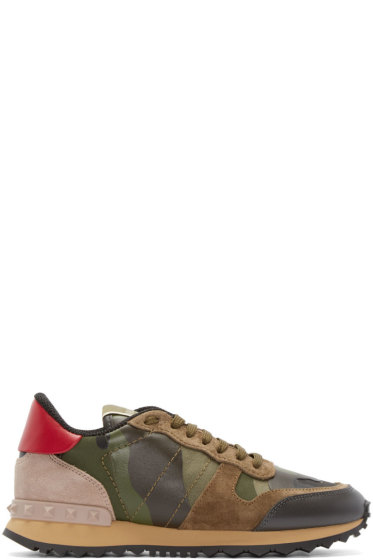 Valentino - Green Camo Low-Top Sneakers