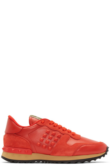 Valentino - Red Leather Rockstud Sneakers