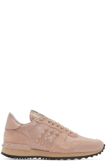 Valentino - Pink Leather Rockstud Sneakers