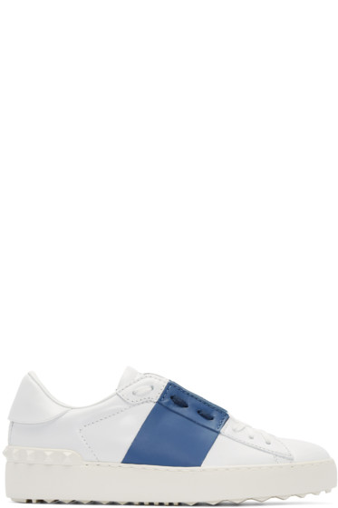 Valentino - White & Navy Leather Sneakers