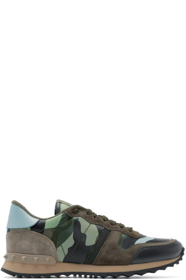 Valentino - Green & Blue Camouflage Sneakers