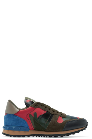 Valentino - Green & Pink Camouflage Sneakers