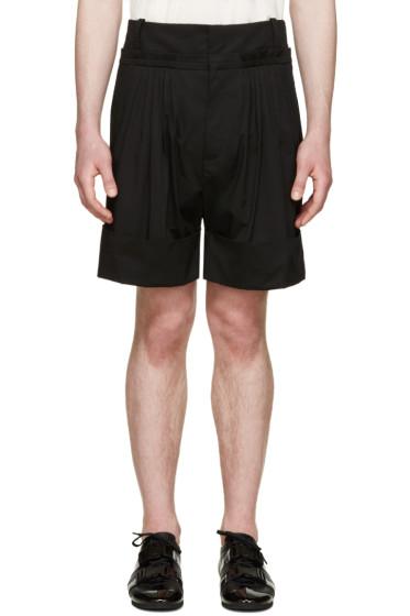 J.W.Anderson - Black Pleated Wide-Leg Shorts