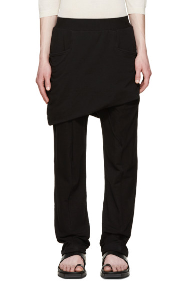 Thamanyah - Black Asymmetric Razor Trousers