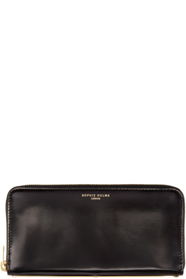 Sophie Hulme - Black Leather Long Gold Spine Wallet