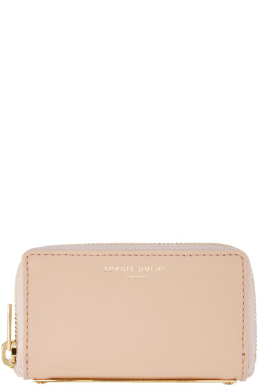 Sophie Hulme - Pink Leather Mini Gold Spine Wallet