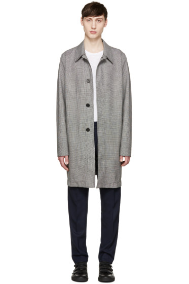 AMI Alexandre Mattiussi - Black & White Houndstooth Mac Coat