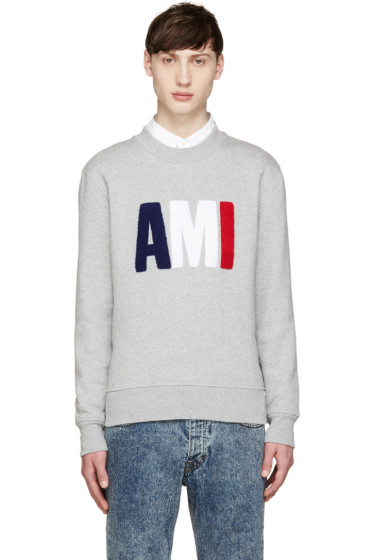 AMI Alexandre Mattiussi - Grey & Tricolor Logo Sweatshirt