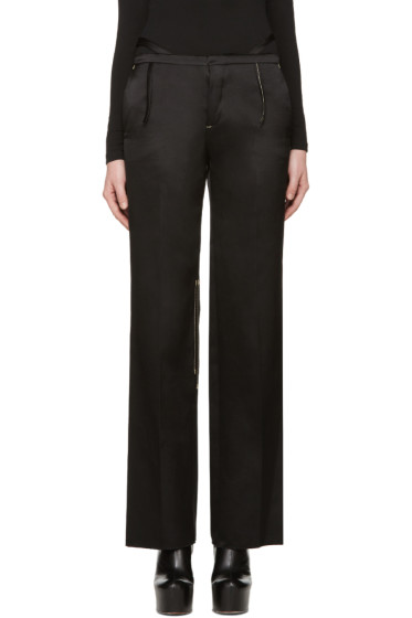 Calvin Klein Collection - Black Satin Topstitched Gilgo Trousers