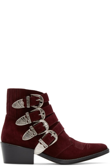 Toga Pulla - Burgundy Western Buckle Boots