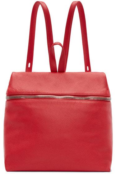 Kara - Red Pebbled Leather Backpack