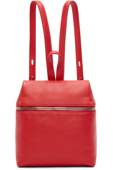 Kara - Red Pebbled Leather Small Backpack