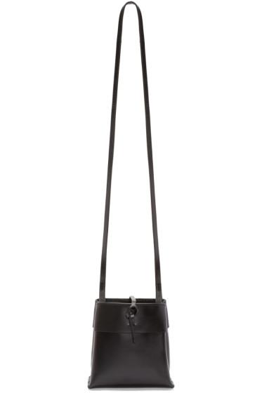 Kara - Black Leather Nano Tie Crossbody Bag