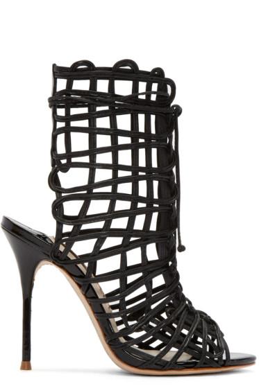 Sophia Webster - Black Leather Delphine Heeled Sandals