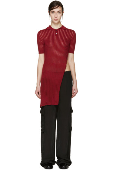 Yang Li - Red Long Knit Polo