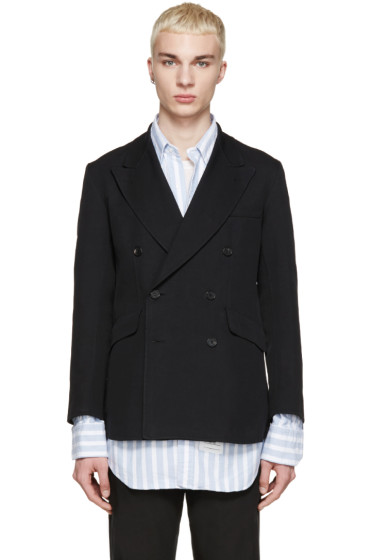Yang Li - Black Twill Double-Breasted Blazer