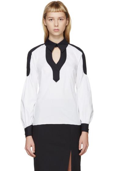 Peter Pilotto - White & Navy Poplin Penta Shirt