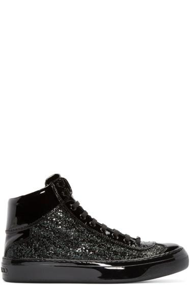 Jimmy Choo - Black Zebra Glitter Argyle Sneakers