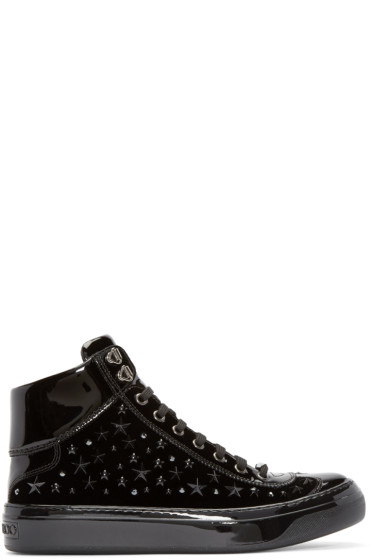 Jimmy Choo - Black Velvet Stars Argyle High-top Sneakers