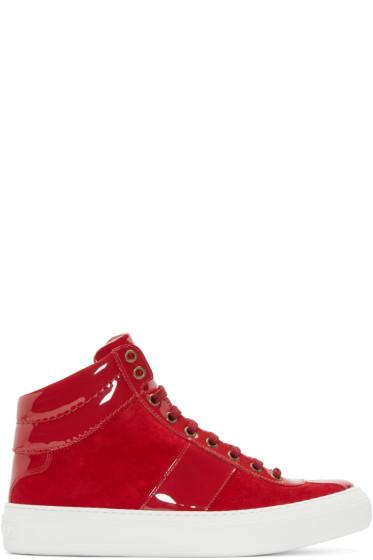 Jimmy Choo - Red Belgravi High-Top Sneakers