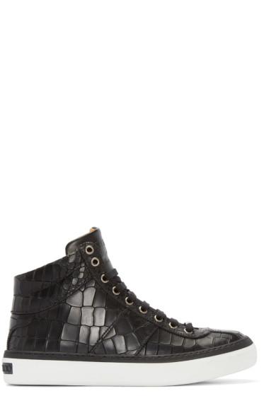 Jimmy Choo - Black Croc Belgrave High-Top Sneakers