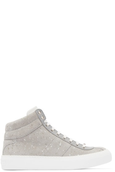 Jimmy Choo - Grey Spotted Belgravi High-Top Sneakers