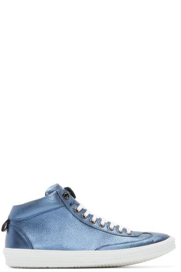 Jimmy Choo - Blue Metallic Varley High-Top Sneakers