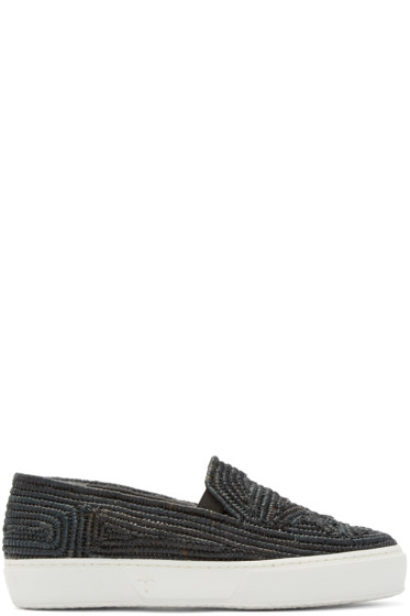Robert Clergerie - Black Raffia Tribal Slip-On Sneakers