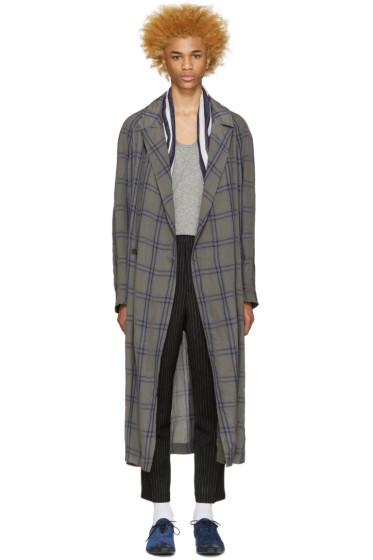 Haider Ackermann - Taupe & Blue Check Coat