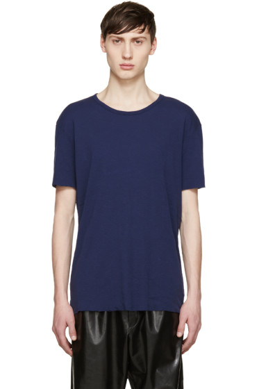 Haider Ackermann - Navy Silk T-Shirt