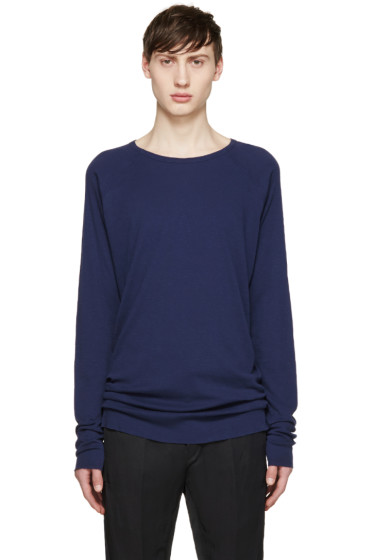 Haider Ackermann - Navy Silk Long Sleeve T-Shirt