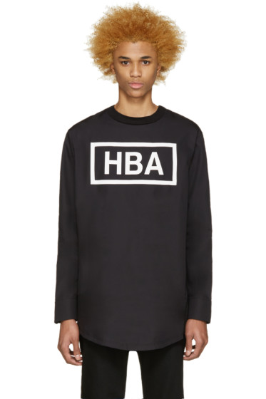 Hood by Air - Black Poplin Logo Snap T-Shirt