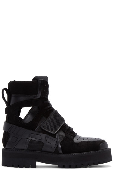 Hood by Air - Black Nubuck Avalanche Boots