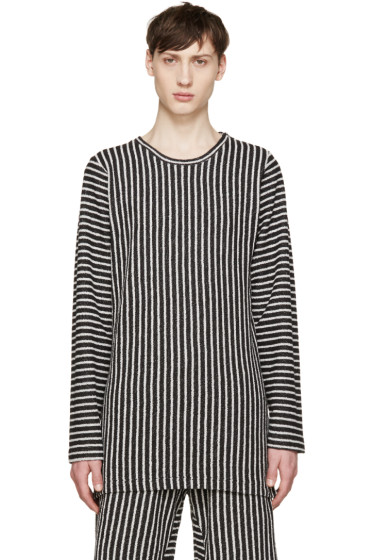 Pyer Moss - SSENSE Exclusive Black & White Striped Pullover