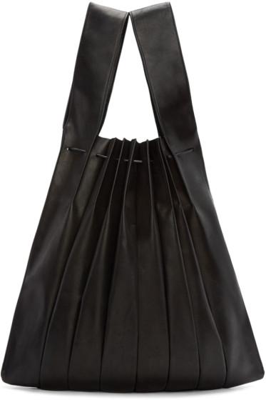 Yohji Yamamoto - Black Pleated Leather Tote