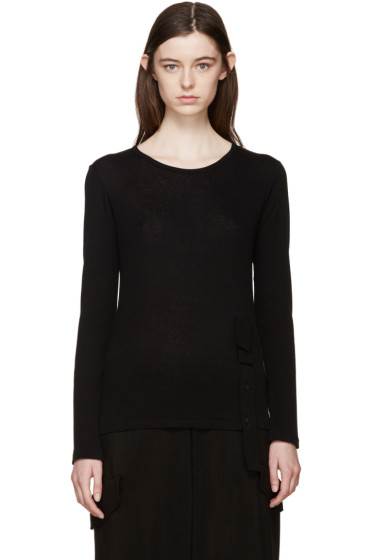 Yohji Yamamoto - Black Button Placket T-Shirt