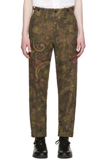 Yohji Yamamoto - Khaki Printed Jacquard Trousers