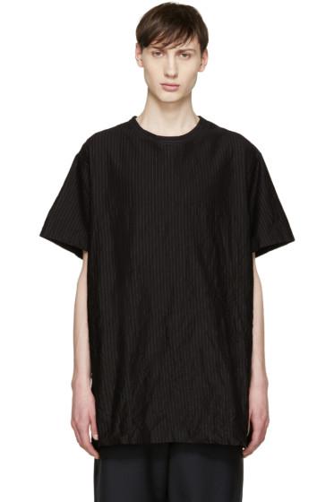 Yohji Yamamoto - Black Oversized Pinstripe T-Shirt
