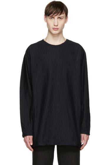 Yohji Yamamoto - Navy Oversized Pinstripe T-Shirt