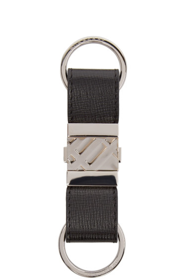 Burberry London - Black Leather Check Keychain
