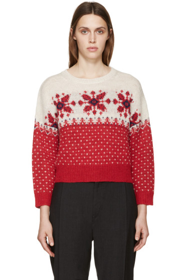 Isabel Marant Etoile - Red & Beige Gillian Sweater