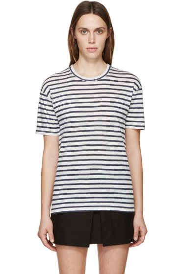 Isabel Marant Etoile - White & Navy Ken T-Shirt