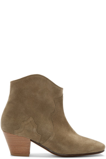 Isabel Marant - Green Suede Dicker Ankle Boots