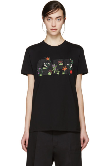 Off-White - Black Embroidered T-Shirt