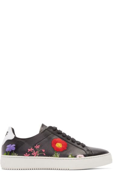 Off-White - Black Leather Embroidered Sneakers