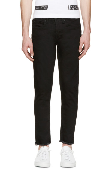 Off-White - Black Frayed & Cropped Jeans