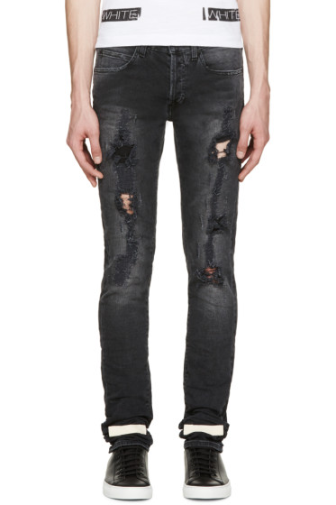 Off-White - Black Distressed Jeans