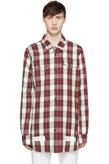 Off-White - Red & White Flannel Check Shirt