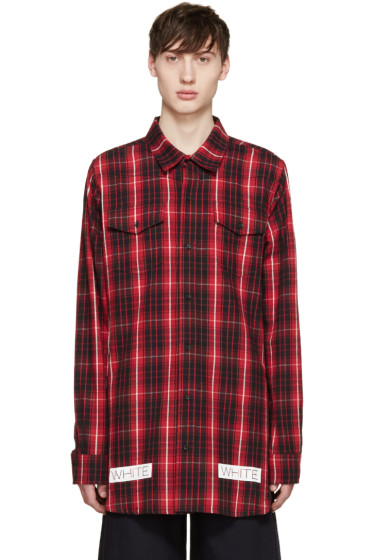 Off-White - Red & Black Flannel Check Shirt