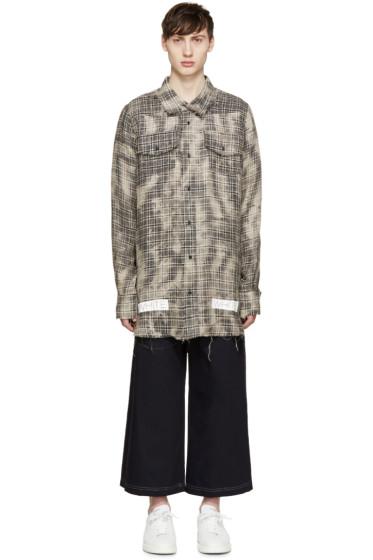 Off-White - Beige Linen Check Shirt